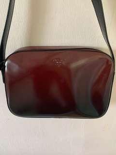 Authentic Prada Maroon Leather Handbag with Authenticity Card