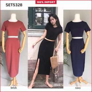 Set Top + Slit Skirt Fit to M-L