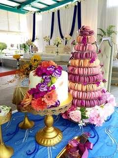 Wedding 10 tier Macaron Tower with cake