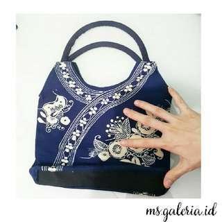 Hand Painting Bag Biru Tua, Lukis