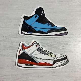 🚚 Nike Air Jordan 3 (AJ3) Sneakers Waterproof Stickers