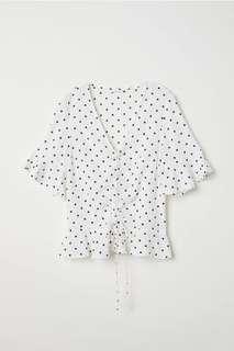H&M Drawstring Blouse White Polka Dot