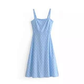 Light Blue Floral Tie Back Midi dress