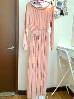 Pleated skirt maxi dress