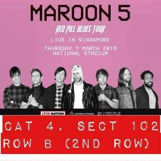 CAT 4 Maroon 5 ticket (2nd row) x 02 for Red Pill Blues Concert Tour
