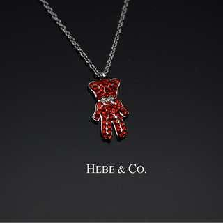 Hebe & Co. - 18k White Gold plated Red Bear-ron pendant necklace (RRP: RM99.00)