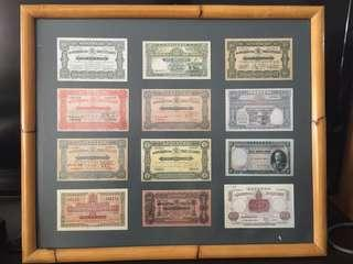 Beautiful framed reproduction currency notes