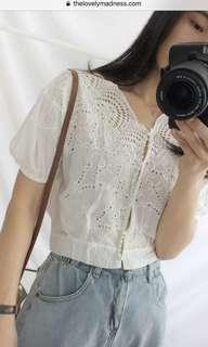 Lovelymadness crochet embroidered white top with puffy sleeves