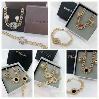 Lv Bvgari Gucci 3 in 1 Jewelry set with box paperbag
