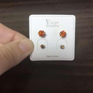 🚚 橘色 黃色 鑽石耳環