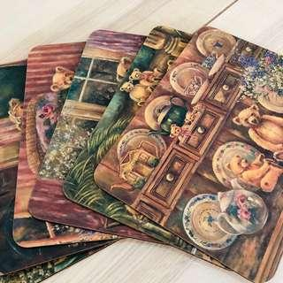 6-piece Teddy Bear Painting Placemats