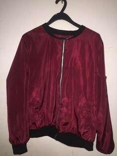 red/maroon bomber jacket