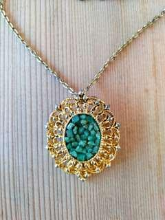 Antique Emeralds Cluster on Brooch Necklace with gold silver