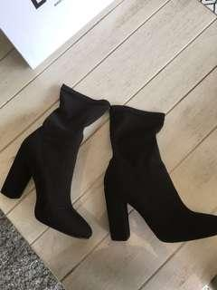 EGO sock heel boots black