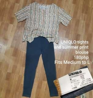 FREE SF Uniqlo tights and summer print blouse