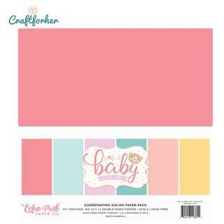 """🚚 ★Kit★ Hello Baby Girl Solid Color Paper Pack, 12"""" x 12"""" Solid Cardstock Paper, Scrapbooking Craft"""