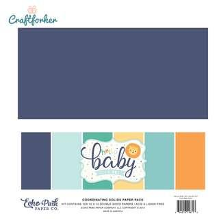 """🚚 ★Kit★ Hello Baby Boy Solid Color Paper Pack, 12"""" x 12"""" Solid Cardstock Paper, Scrapbooking, Craft"""