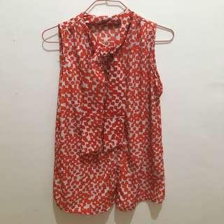 Red and White sleeveless top