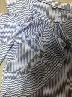 🚚 Blue stripes half sleeve top