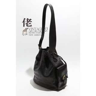 🚚 Vintage Bags 二手古董BALLY黑色真皮側背肩背水桶包