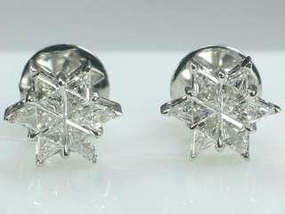 Trillion Cut Diamond Earring