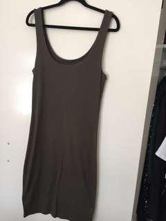 Khaki Body Con Dress