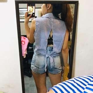 Stipes Tie Up Backless Polo
