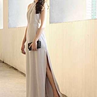 Supermodel wardrobe Grey dinner long dress #FEBP55