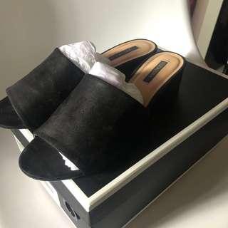 Peep toe low heel Mules