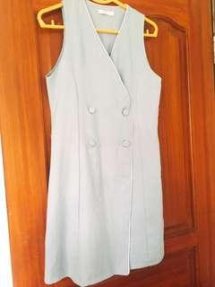 🚚 Button Dress in Grey - Free Sized