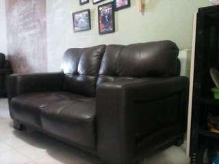 Preloved Genuine leather sofa 2 seater.
