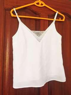 White Top with Lace accents XS