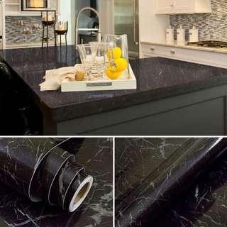 🚚 Black Marble Coffee Table Countertop Sticker Home Decor