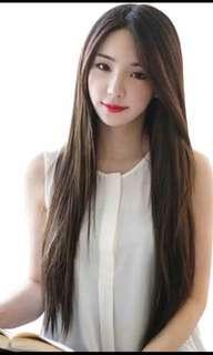 wig rambut lurus panjang