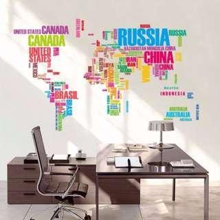 World Map Wallpaper Wall Decal Sticker Mural Home Decor