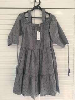 SEED HERITAGE cotton smock dress with tassels