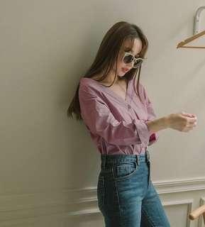 Mercci22 粉紫 V領襯衫式造型上衣