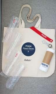 「 New Unused 」 Peroni Event Premium - Squad / Group Set (Tote Bag, Half-Pint Glasses, Bottle Opener + Towel)