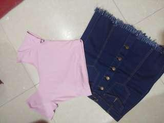 Bundle 1:  jewel's ripped skirt and pink cropped top #lovemarch
