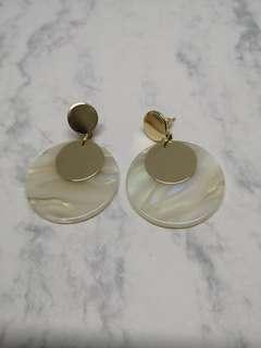 🚚 大理石圓片耳環