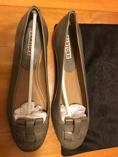 Sartore Taupe Leather Flats-Brand New