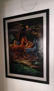 Horses Oil Painting with Frame