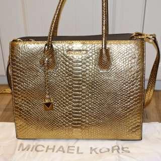 Michael Kors MK Mercer蛇紋牛皮手提包 肩背包 金色