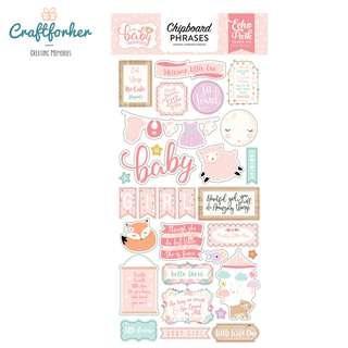 🚚 ★Sticker★ Hello Baby Girl Chipboard Phrases Stickers, Scrapbooking, Craft