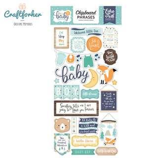 🚚 ★Sticker★ Hello Baby Boy Chipboard Phrases Stickers, Scrapbooking, Craft