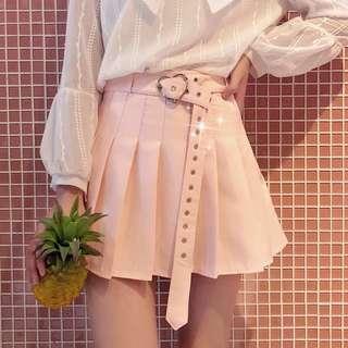 🚚 [FAST PO] Korean Ulzzang Heart Belt High Waist Pink/White Pleated Tennis Skirt Harujuku