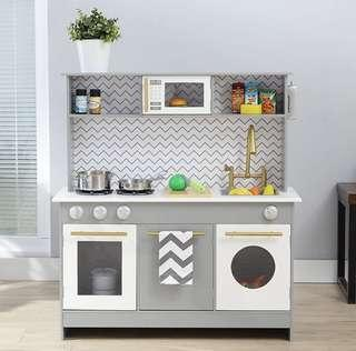 (PO) BN Teamson Kids Bermingham Play Kitchen Set, Grey / White Chevron Stripes