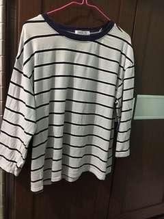 🚚 💙韓國代購購回條紋七分袖上衣