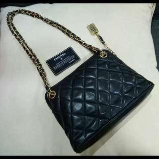 Authentic Chanel Small Tote Quilted Lamskin