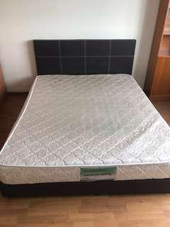 Queen Size Bed frame plus spring mattress